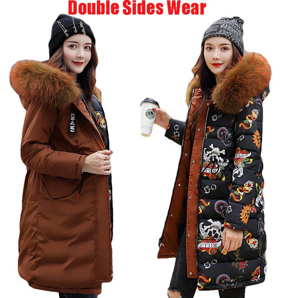 Double Sides Wear Down Cotton Coat Plus Size Loose Parka Long Winter Women Jacket 2020 New Warm Thick Straight Outerwear D041
