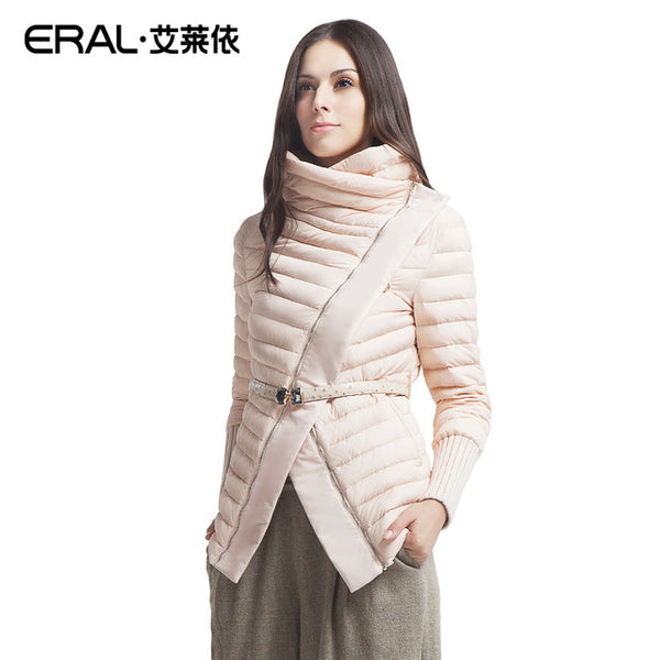 High Quality Winter Women's Fashion Stand Collar Oblique Zipper Patchwork Short Down Jacket Coat 2007D