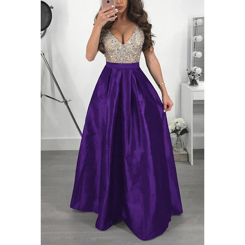 Elegant Sequin Formal Evening Party Dress Women A Line Long Occasion Dresses Vestido De Festa V Neck Sleveless Lady Prom Gowns