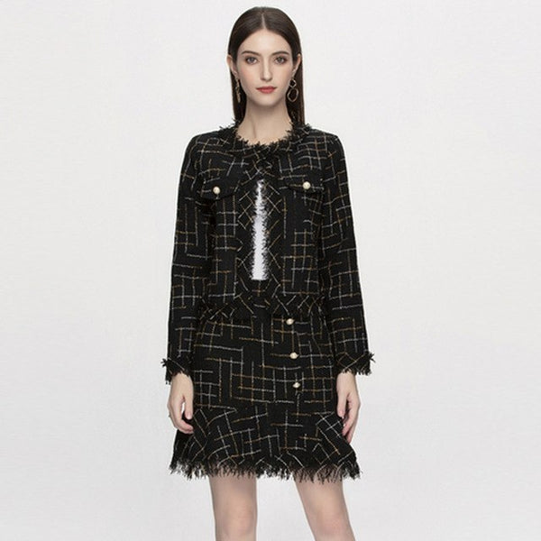 Europe And United States Designer Runway Suits 2020 Autumn New Women's Long Sleeved Plaid Print Short Coat + Mini Skirt Sets