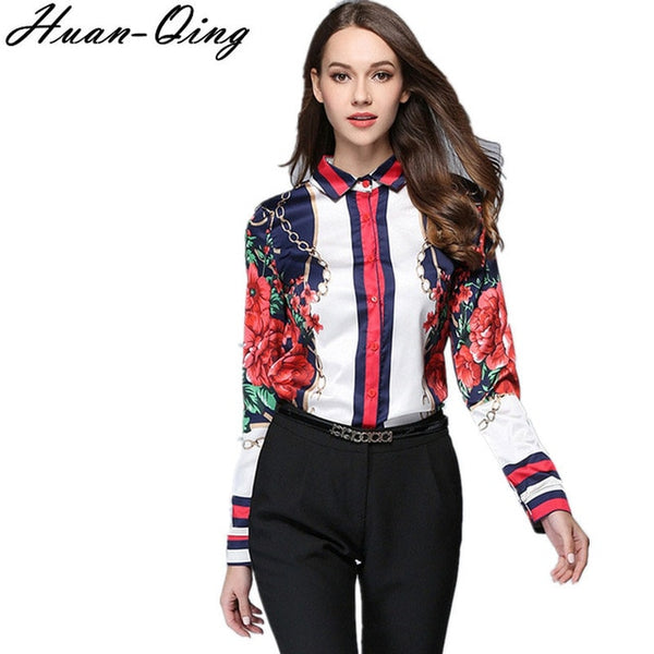 European Style Autumn Runway Women Vintage Luxury Printing Slim Blouses Long Sleeve Office Shirts Tops Casual Blusas Mujer S-2XL