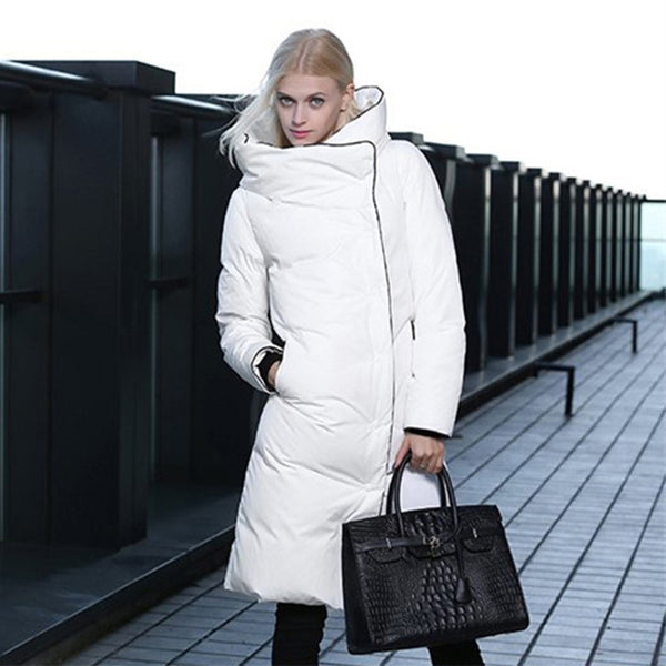 European black white womens parkas with fur hoods 2020 New luxury women winter coats Solid fashion Thick Long coat women FZ14