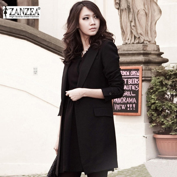 Fashion Autumn Outwear 2016 Women Blazer Lapel Collar Long Sleeve Single Button Elegant Black Work Long Jacket Coat feminino