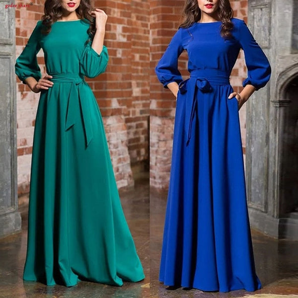 Fashion Autumn Women Dresses Full Sleeve Solid Round Neck Pleated Elegant Floor Length Long Maxi Dress Plus Size Woman Clothes
