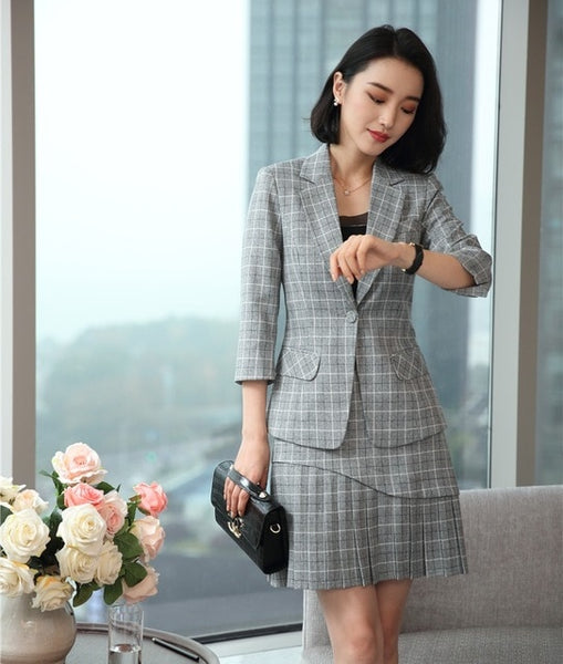 Fashion Grey Plaid Blazer Women Business Suits 2 Piece Skirt and Jacket Sets Half Sleeve Ladies Office Uniform Designs