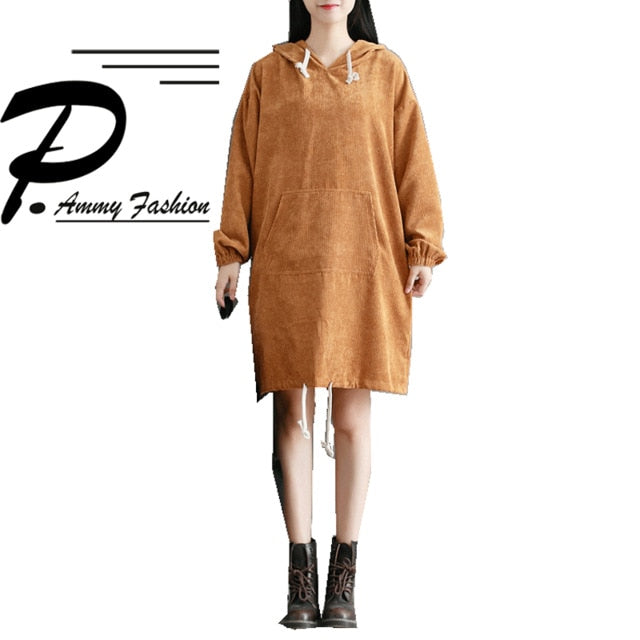 Fashion Hooded Big pocket Corduroy Dress Womens Plus Size Hoodies Jumper  Dress Ladies Fall Winter Long Sleeve Loose Tunic Dress