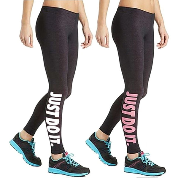 Fashion Just do it Women Leggings Black Pink Casual Sexy Fitness Legging Free Size Trousers Elastic Pants Trousers DDK12 E