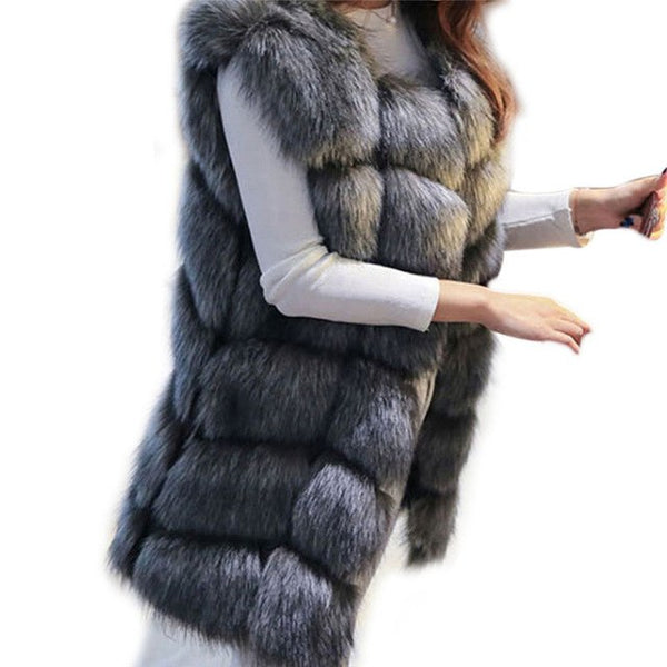 Fashion Luxury Faux Fox Fur Black Coat Sleeveless Jackets Women Long Vest Winter Ladies Fake Fur Coats Thick Warm Fur Jacket