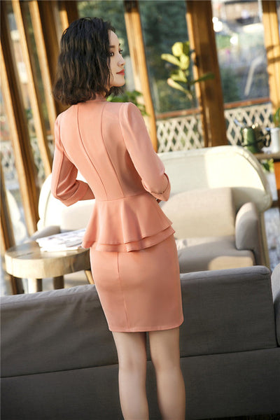 Fashion Orange 2018 Spring Summer Uniform Designs Blazers Two Piece With Tops and Skirt For Ladies Office Work Wear Clothes Sets