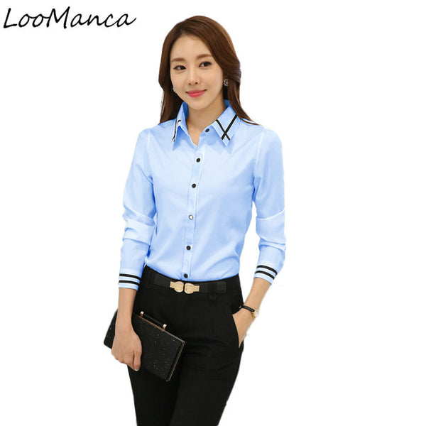 Fashion Shirt Women Clothes 2018 New Full Sleeve White Blue Blouse Tops OL Office Ladies Work Wear Plus Size Blusas Femininas