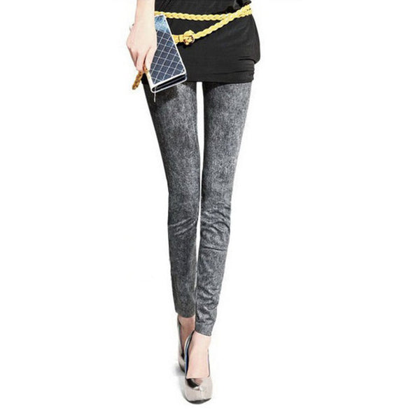 Fashion Slim Women Stretch Denim Jeans Ladies Leggings Casual Thin Pencil Pants Skinny Faux Denim Elastic Leggings 3 Types