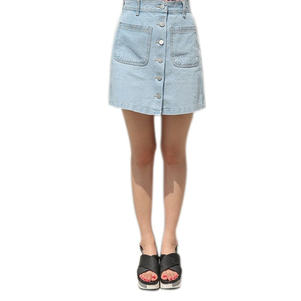 Fashion Summer Women High Waist Denim Skirts With Pocket Front Single-breasted Vintage Ladies Girls Pencil Jeans Skirt J