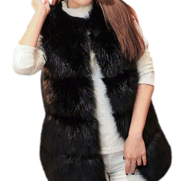 Fashion Warm Fur Sleeveless Luxury Faux Fox Fur Black Coat Jackets Women Long Vest Winter Ladies Fake Fur Coats Thick