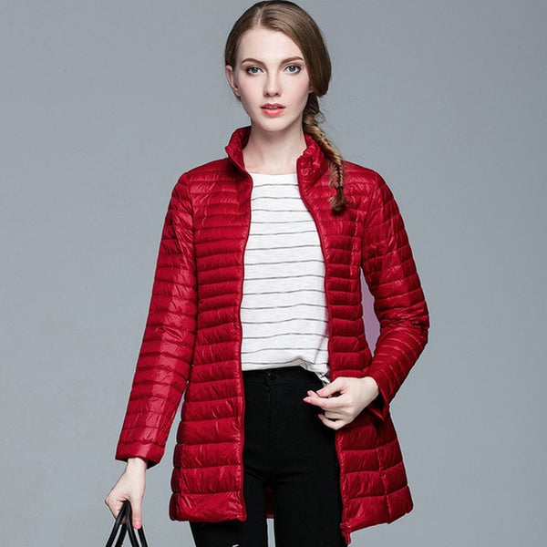 Fashion Woman Spring Padded Warm Coat Ultra Light Duck Down Jacket Long Female Overcoat Slim Solid Jackets Winter Coat