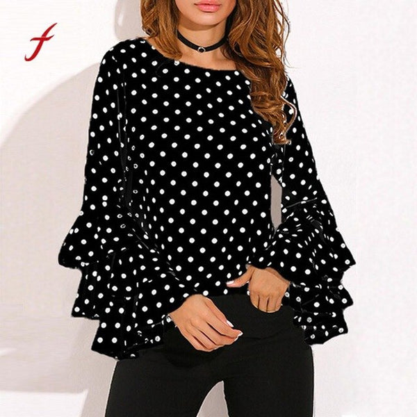 Fashion Women's Flare Sleeve Large Polka Dot Plus Size Fashion Stylish Spring Shirt Ladies Female Casual Tops Pullover Clothes