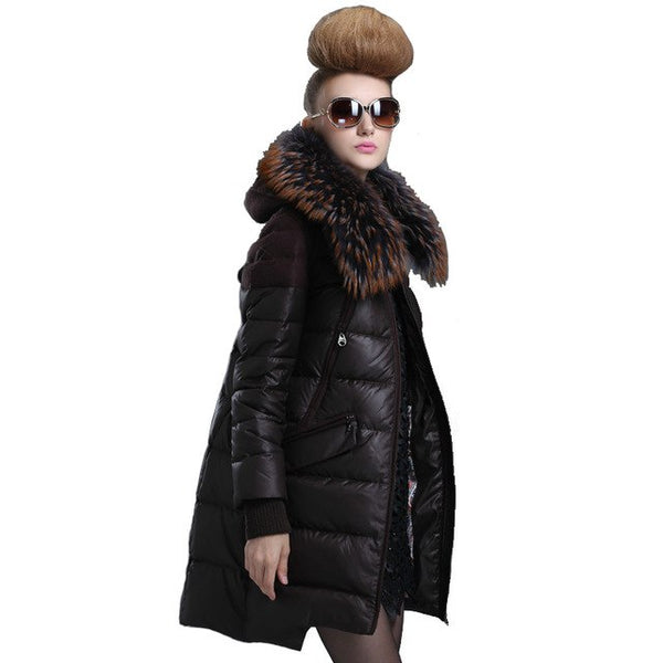 Fashion Women's Long Down Coat with Fur Hood with 90% Down Parka Puffer Jacket Big Size Long Parkas Fur Coat