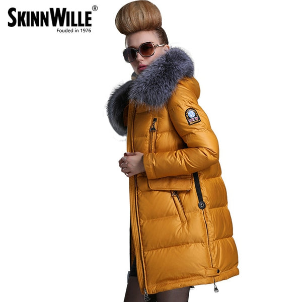 Fashion new arrival 2018 with a hood down coat female thickening wool collar medium-long women's