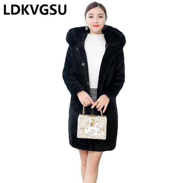 Faux Fur Coat Female 2020 Autumn Winter New Long Single Breasted Black Imitation Fox Fur Hooded Fur Jacket Plus Size 5XL Is1111