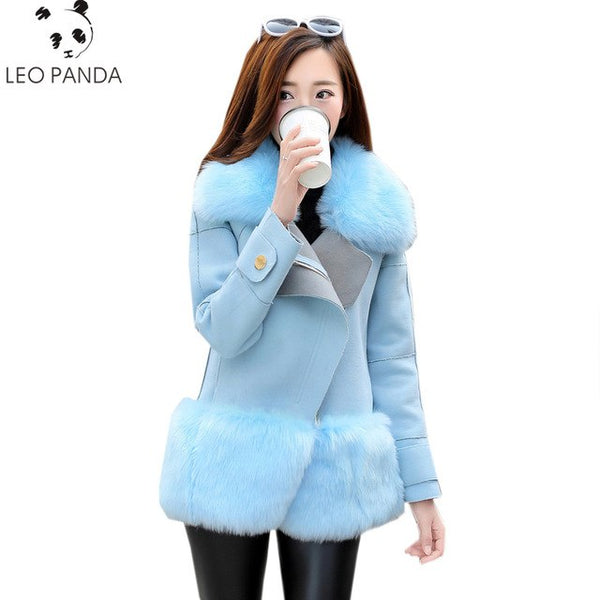 Faux Fur Coat  Women Denim Tops & Jacket Female Artificial Sheepskin Coats Fluffy Faux Fox Fur Fashion Online Shop Clothing