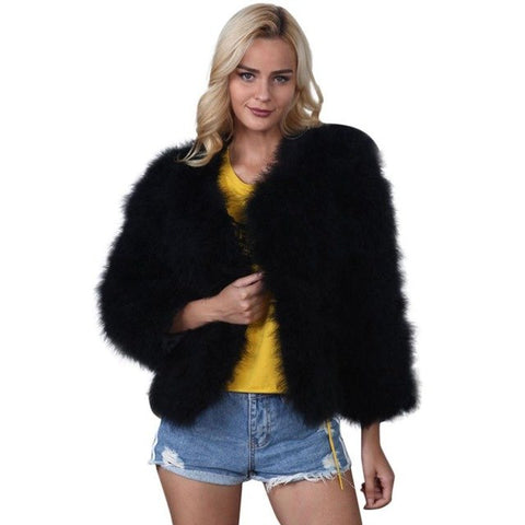 Faux Fur Coat Women Faux Fur Ostrich Feather Soft overcoat Fur Coat Jacket Fluffy Winter Cardigan chamarras de mujer#GHC