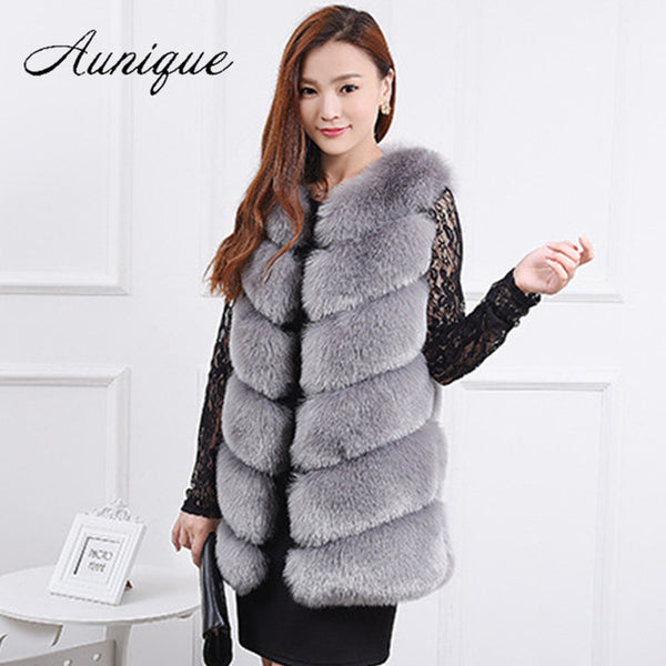 Faux Fur Coats Women Women New Clothing Clothes Thick Warm White Black Vest Female Winter Autumn Fashion Fox Fur Outwear Fur