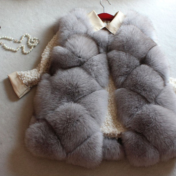 Faux Fur Gilet For Women Short Black Fur Vest Coat Lady Winter Rabbit Fur Coat Fake Fox Fur Vest Plus Size L-3XL Vest Jacket
