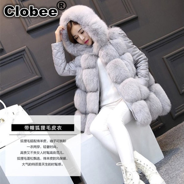 Faux Fur Vest 2018 Winter Furry 6XL Fox Fur Hooded Faux Fur Coat RED/GRAY/BLACK/mex Women Artificial Fur Jacket S/XXXL