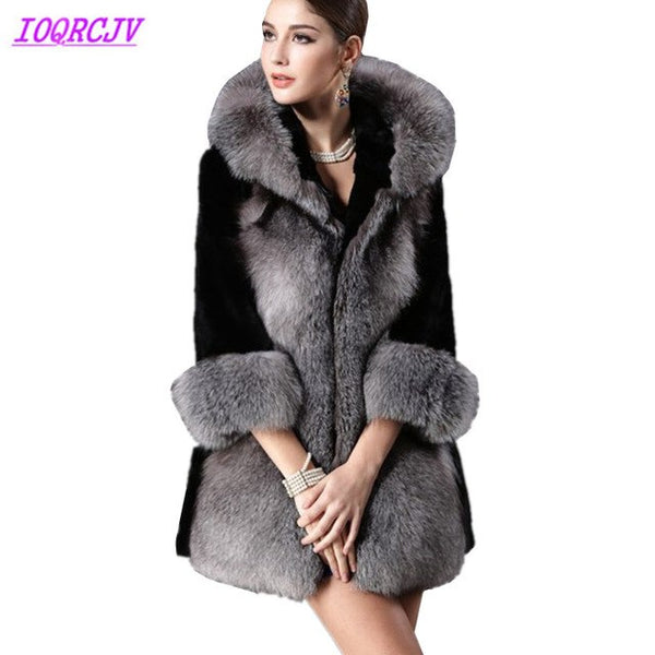 Faux Fur coat for women 2020 autumn and winter silver fox Fur coat Plus size Black Mink Fur Splice top Thick warm Hooded jacket