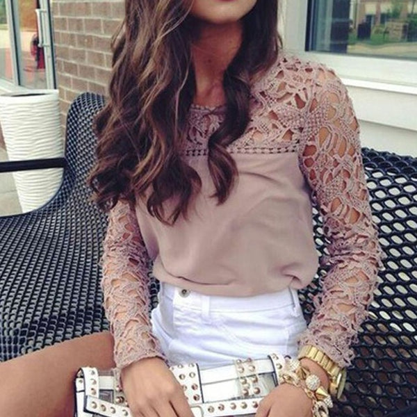 FeiTong Sexy lace hollow blouse shirt women Elegant embroidery long sleeve coffee blouse female Casual hollow out autumn tops