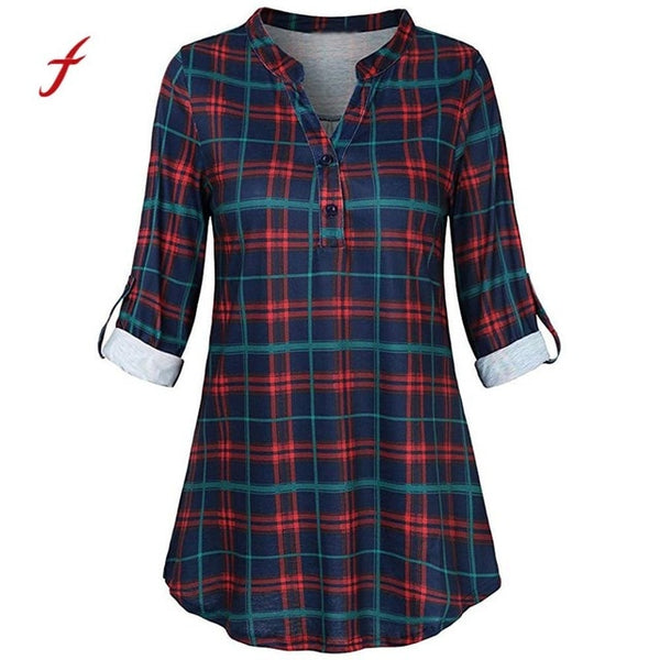 Feitong Lace-up Plaid Blouses Long Sleeve Women Shirt Fashion 2020 Split V Neck Casual Roll-up Tunic Blouses Work Clothing /PY