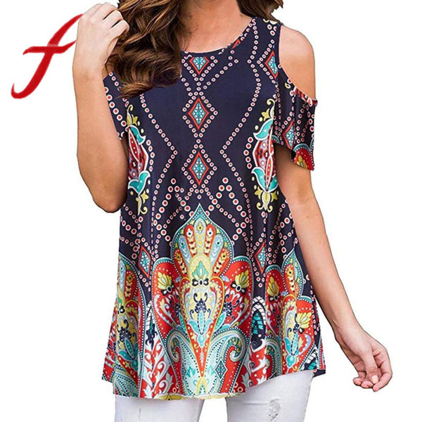 Feitong Plus Size Women Causal Blouses Sexy Off Shoulder Printing Short Sleeve Blouse Loose Tunic Tops blusa feminina 2020 New