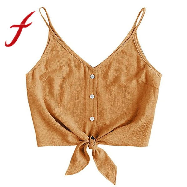 Feitong Women Crop Tops Sexy Strappy Button Sleeveless Bow Crop Top Vest Tank Shirt Blouse Tops Camisole regata feminino 2020