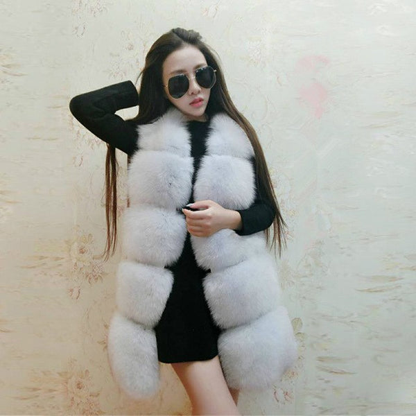 Female fake fox fur vest coat black vest and long sections stitching Slim vest