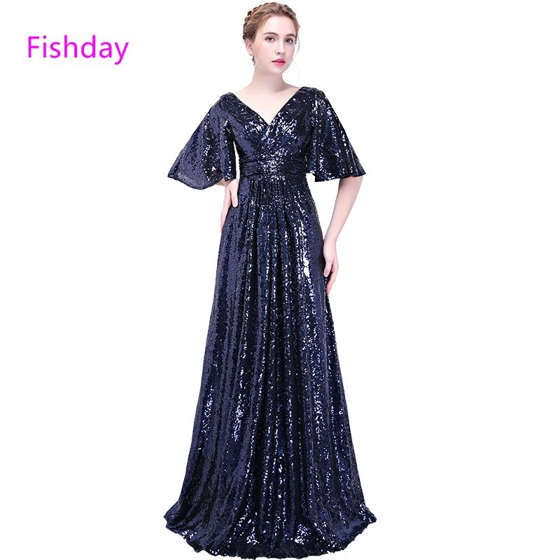Evening Dresses A line Sequin Formal Long Party Women Plus Size Special  Occasion With Half Sleeve robe de mariee B20