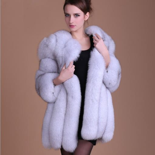 Fluffy Women Coats 2020 Autumn Winter Faux Fox Fur Coat Thicken Knitted Retro Cardigans Plus Size Long Mink Fur Jackets M479