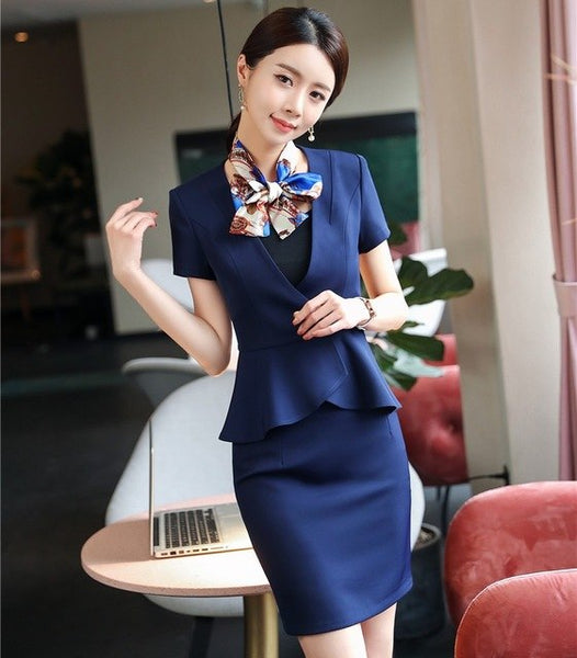 Formal Uniform Designs 2 Piece Fashion Tops And Skirt For Ladies Beauty Salon Office Work Wear Blazers Sets With Scarf Navy Blue
