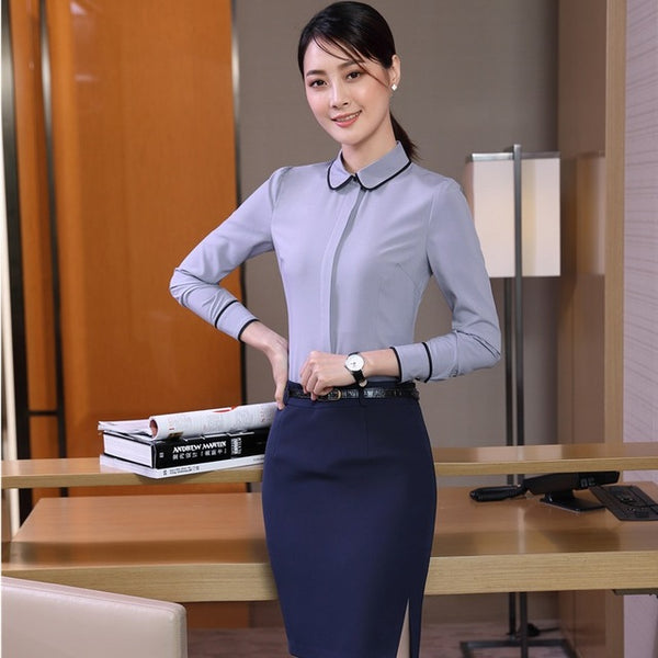 Formal Uniform Designs Skirt Suits With 2 Piece Tops And Skirt Women Blouses & Shirts Sets Plus Size Elegant Blue