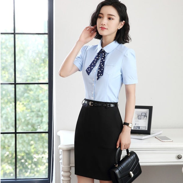 Formal Uniform Designs Skirt Suits With 2 Pieces Blouses And Skirt 2020 Summer Short Sleeve Beauty Salon Outfits Sets With Tie