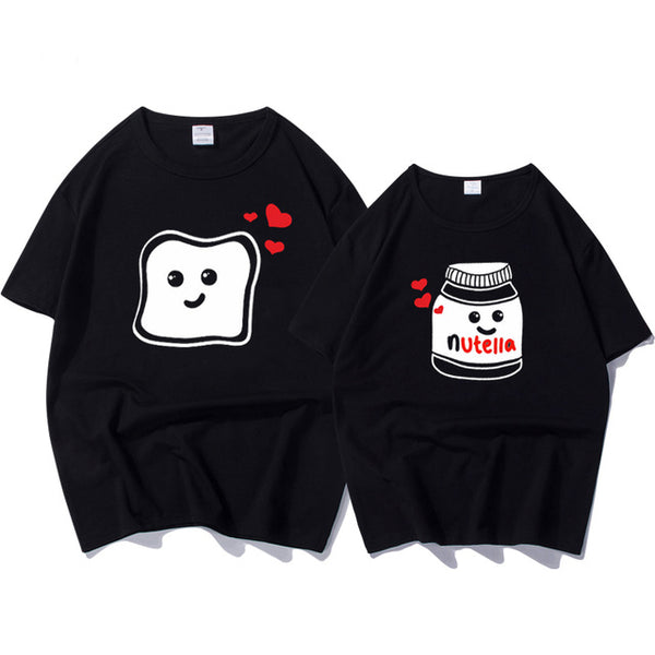 Funny New Couple Clothes Summer Cool Women T-shirt Cotton Print Nutella T Shirt Women Plus Size Tops Couple Harajuku T Shirts