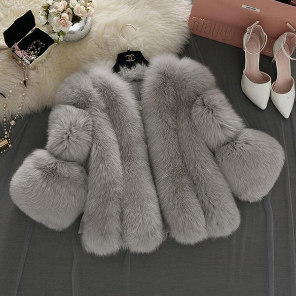 Fur Faux Fur Coat Mink Hair Rex Rabbit Hair  Jacket 2020 Black White Fur Overcoat Imitation Rabbit Fur Faux Fox Collar XXXL