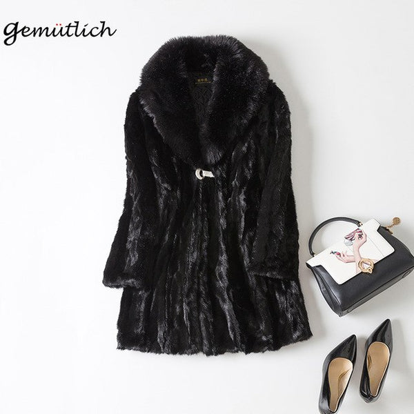 GEMUTLICH Plus Size Winter Warm Fur Coat Outwear Jacket Fake Faux Mink Fur Fox Fur Collar Clothing Parka Black Slim S-4XL