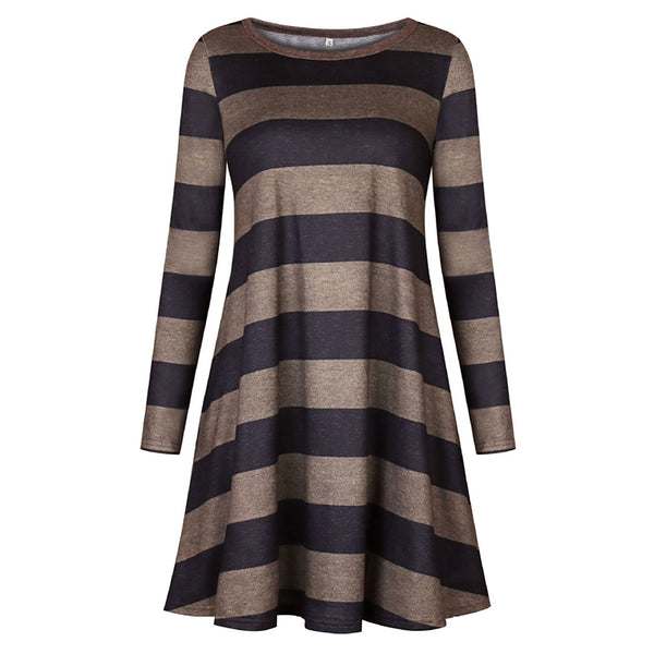 2018 Autumn Winter Women Dress O-Neck Long Sleeve Striped Pocket Loose Casual Midi Vintage Dress Woman Party Dresses