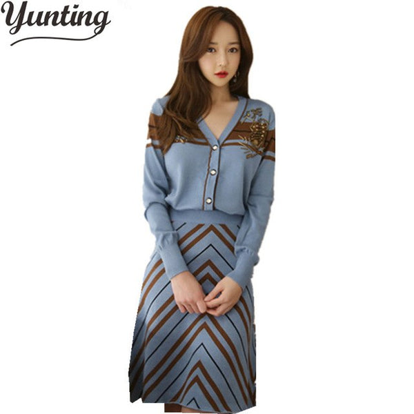 HIGH QUALITY New 2020 Fashion Designer Runway Suit Set Women's Knitting Sweater Skirt Set