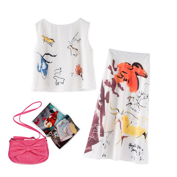 HIGH QUALITY New Summer Fashion Runway 2020 Designer Suit Set Women's Sleeveless Tank Top Painting Skirt Set