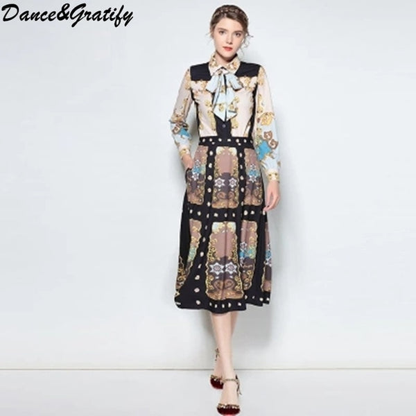 HIGH QUALITY Newest 2020 Designer Runway Suit Women's Full Sleeve Retro Printed Bow Shirt And Long Midi Skirt Set