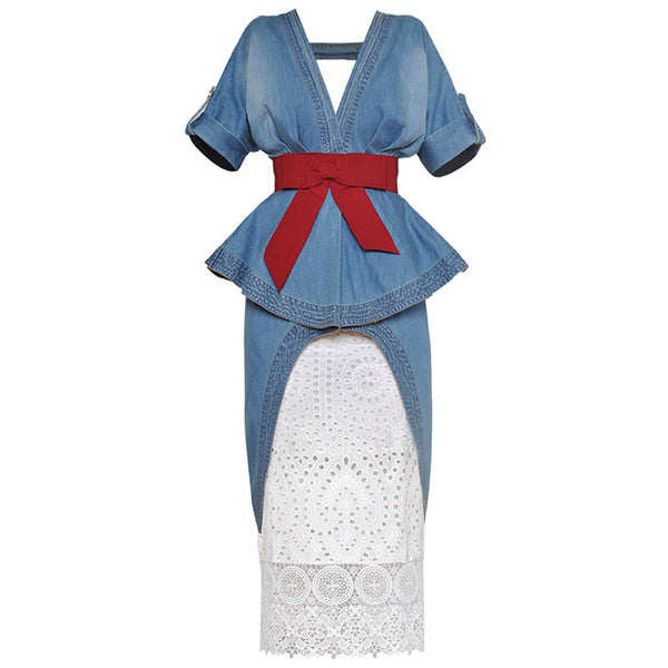 HIGH STREET New Fashion 2020 Designer Runway Suit Set Women's Stylish V-neck Dovetail Denim Dress + Lace Skirt Suit Set 2pcs