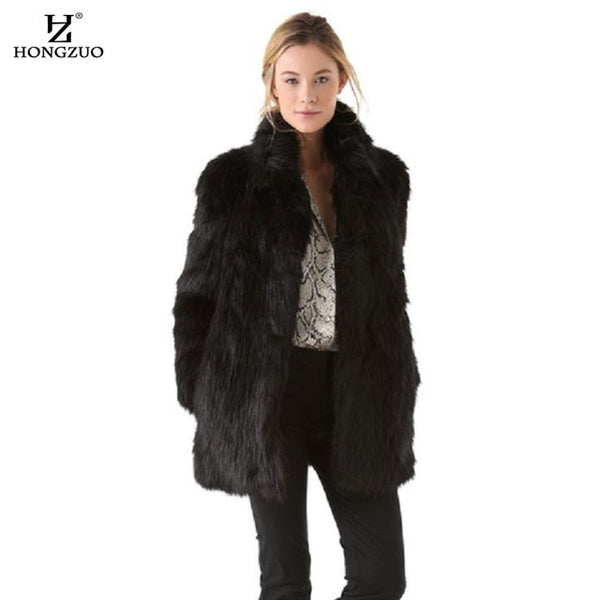 HONGZUO 2017 Winter Thick Warm Women Black Fur Coat Mandarin Collar Artificial Fur Coat Faux Fox Fur Ladies Coats Female PC262