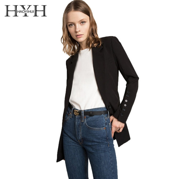 HYH  Solid Black Blazer Slim Fit One Button Office Ladies Coat Notched Long Sleeve Blazers Jackets Solid Black Outwear