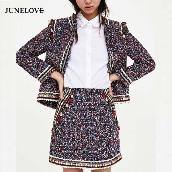 Handmade 2020 Runway Designer Luxury Fashion Skirt Suits Ethnic Vintage Tassel Tweed Blazers and Tassel Tweed  Skirt Set