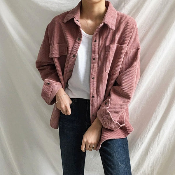 Harajuku Corduroy Jackets Women Winter Autumn Coats Plus Size Overcoats Female Big Tops Cute Jackets Solid Color Clothing Red